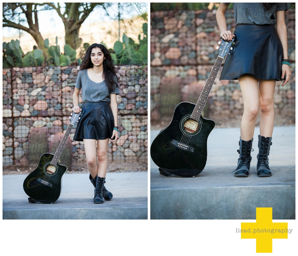 Phoenix Senior Pictures with guitartaken by Lisa d. Photography