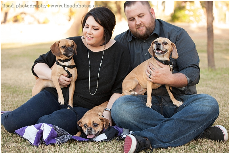 Anniversary Photo Session at Encanto Park  with puggles