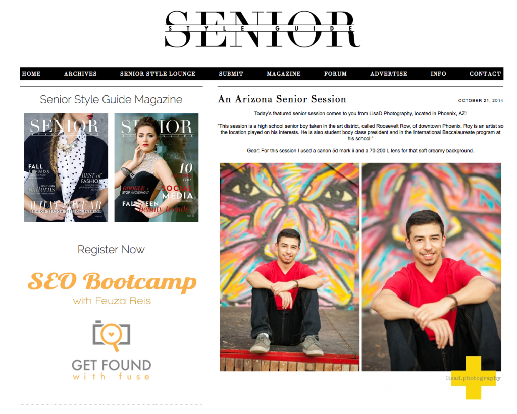 Lisa d. Photography featured in Senior Style Guide
