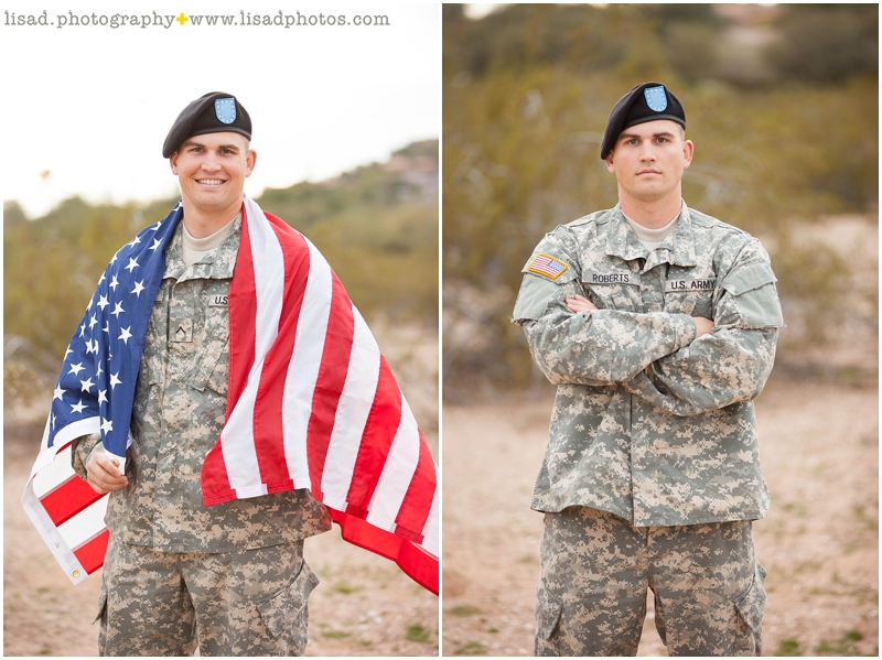military family photography in Paradise Valley, AZ - phoenix family and children photographer serving Phoenix and surrounding areas - desert location - lisa d. photography - americana - patriotic - soldier portrait
