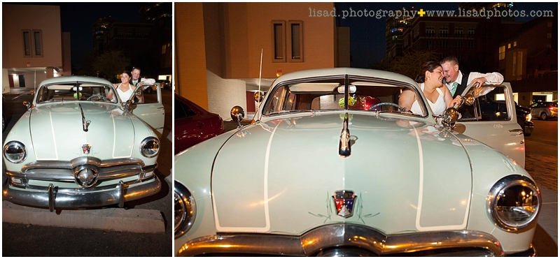 Hackett House Tempe   Tempe wedding photographer   Lisa d. Photography   old fashioned car