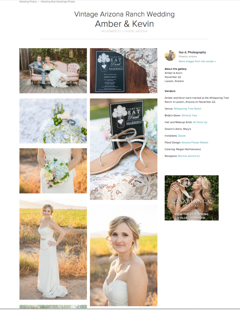 Whispering tree ranch wedding featured on wedding wire by Lisa d. Photography
